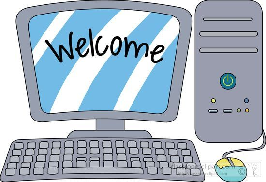 png royalty free stock Desktop computer with welcome. Computers clipart