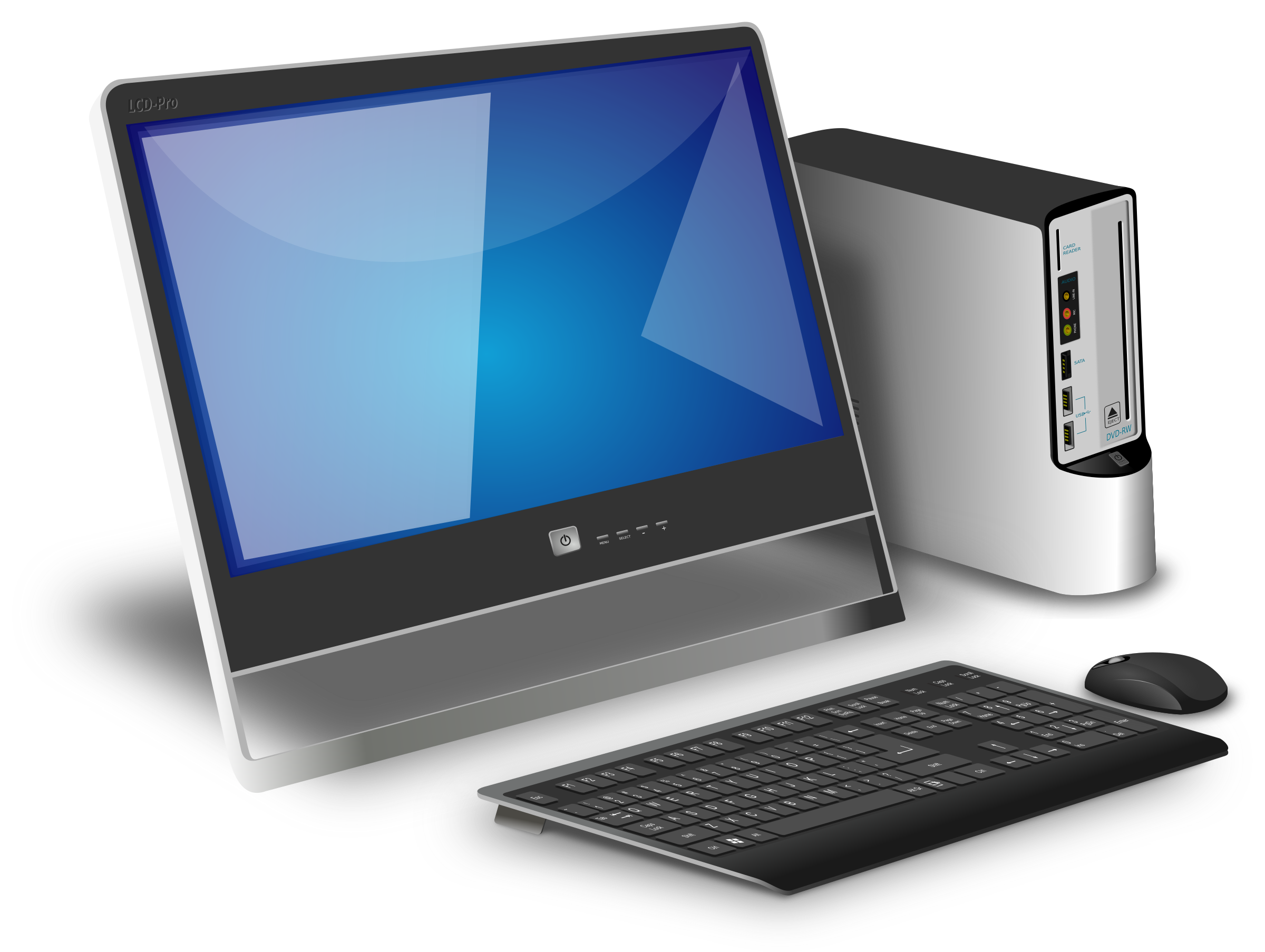 banner black and white library Vector computer setup. Pc free png images
