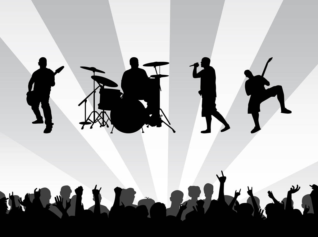image transparent Free irsh concert cliparts. Vector bands silhouette