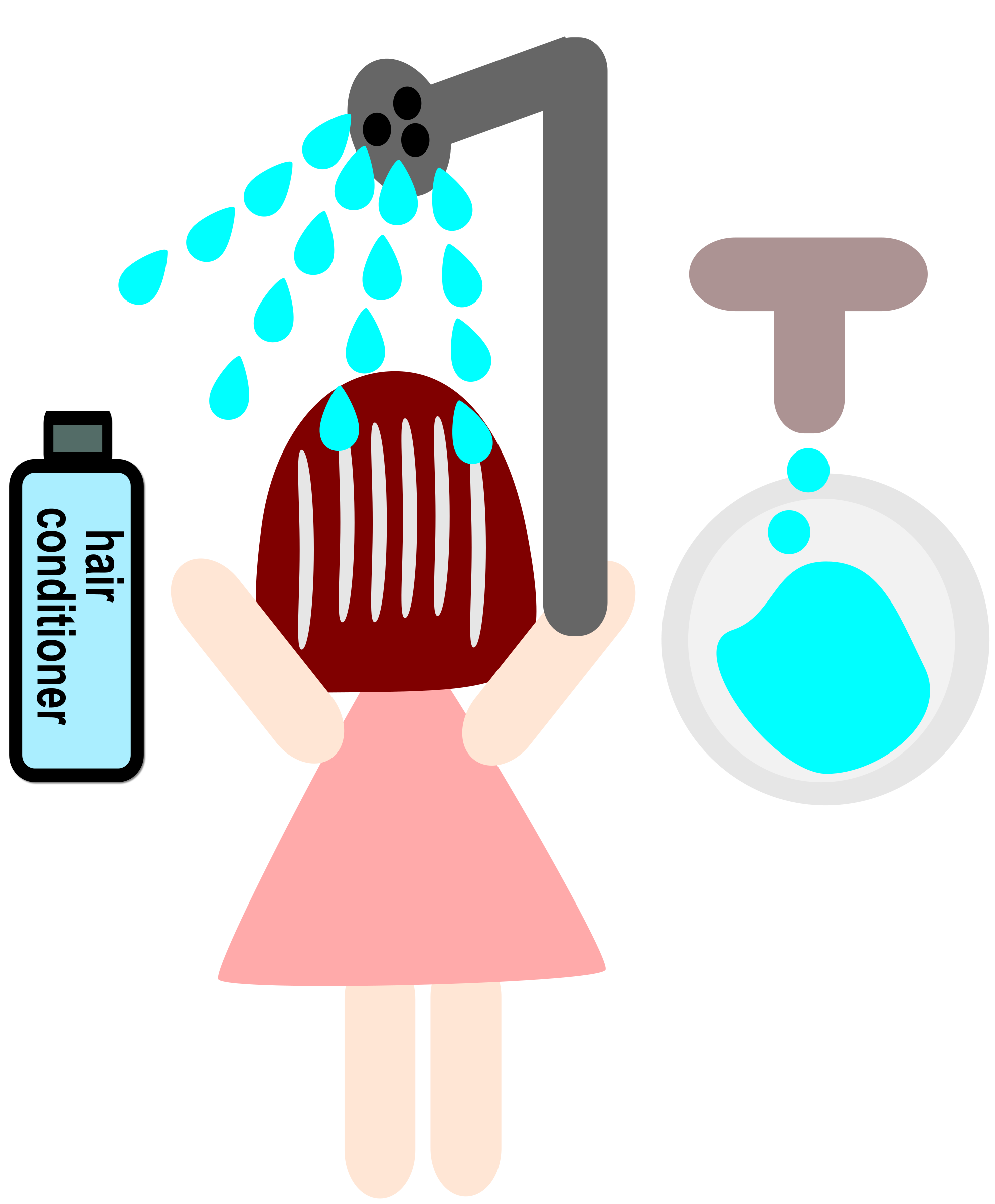 jpg library A girl use hair. Conditioner clipart