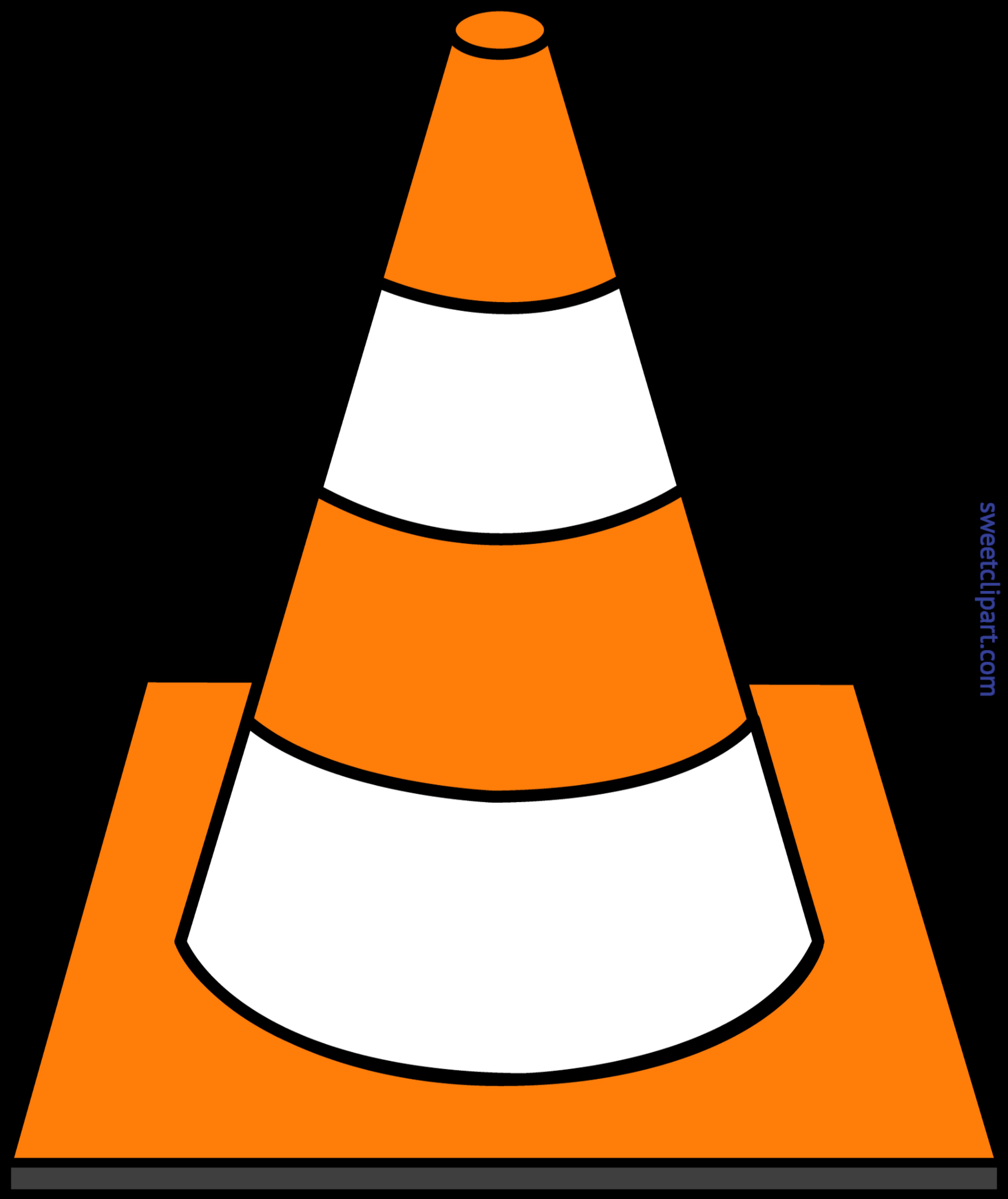 black and white Cone clipart. Construction striped clip art.