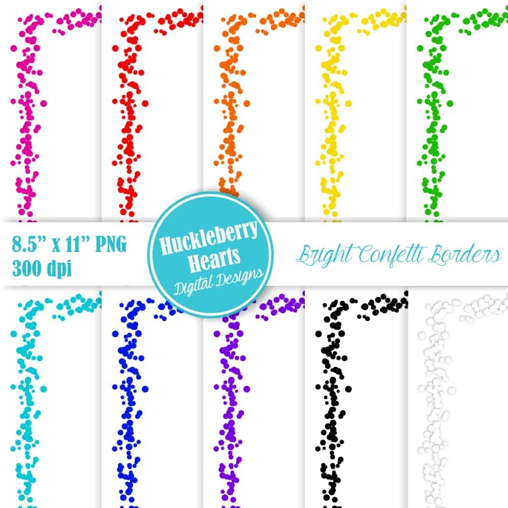 image free Confetti border clipart. Bright borders x