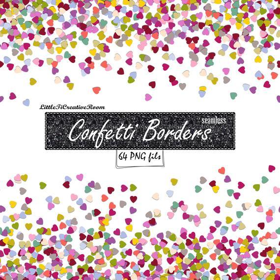 clip royalty free Heart borders digital clip. Confetti clipart border