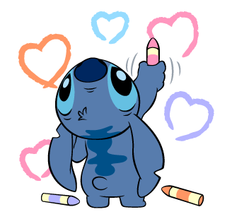 banner library download Drawing stitch heart. Crayons hearts colours disney