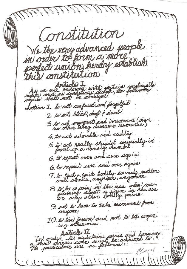 royalty free Feralgenarian by roger swezey. Constitution drawing.