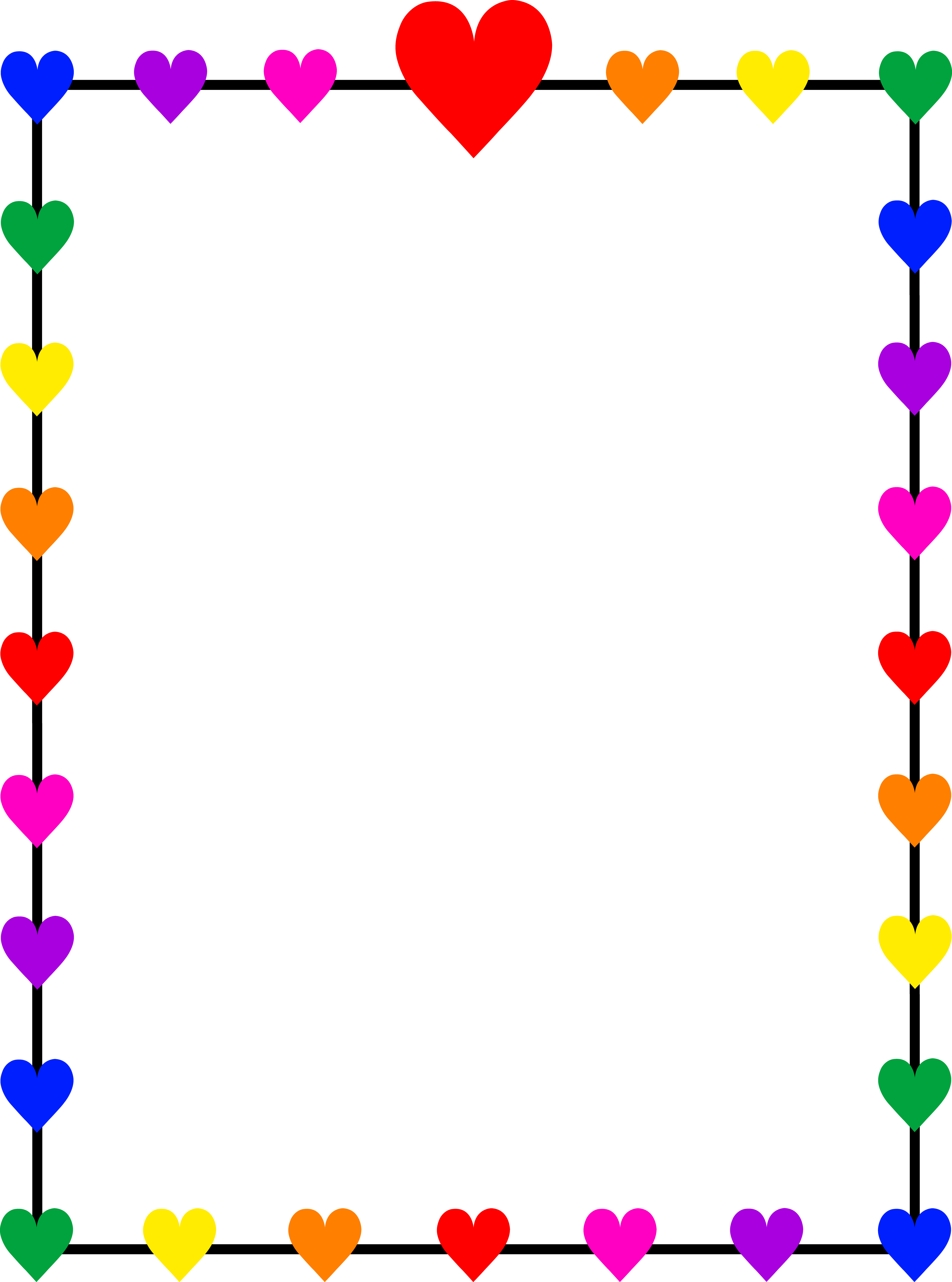 jpg freeuse library Clip art rainbow hearts. Clipart frames and borders