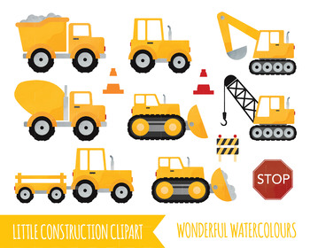 image library download Watercolour lorry tractor . Construction truck clipart.