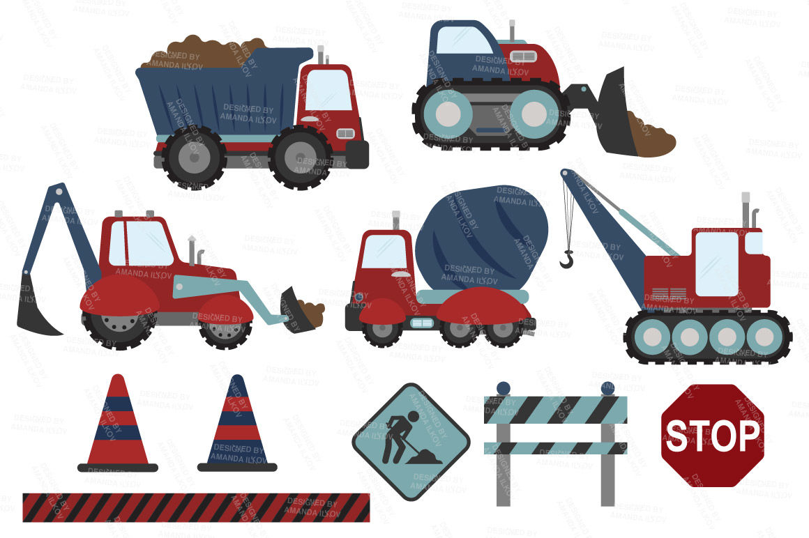 jpg royalty free stock Trucks in americana by. Construction vehicle clipart.