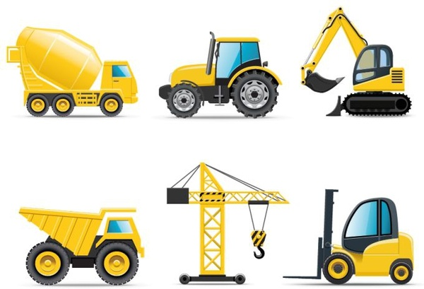 clip transparent stock Icons yellow equipment objects. Construction vehicles clipart.