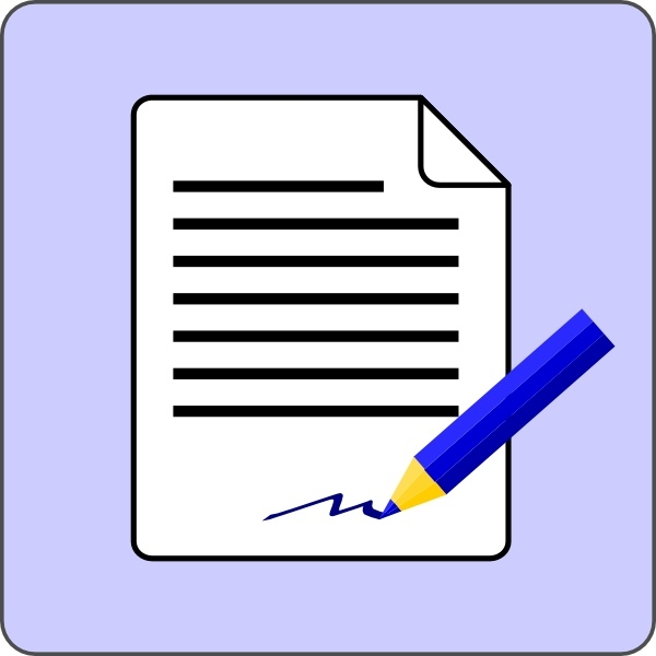 library Contract clipart vector. Sign document icon clip