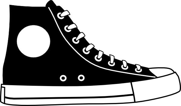 png transparent library Hightop shoe clip art. Tennis clipart black and white.