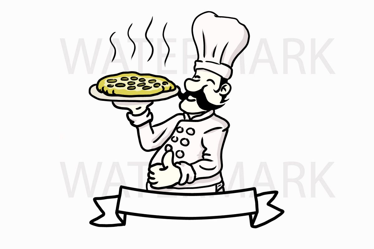 black and white Cook drawing logo. Holding pepperoni pizza svgjpgpng