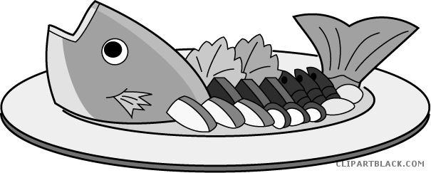 clipart black and white library Fish clipartblack com animal. Cooked clipart.
