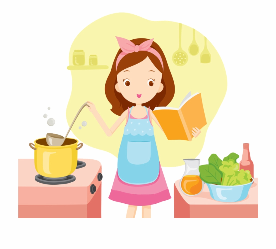 jpg royalty free stock Cooking clipart. Bake woman girl clip
