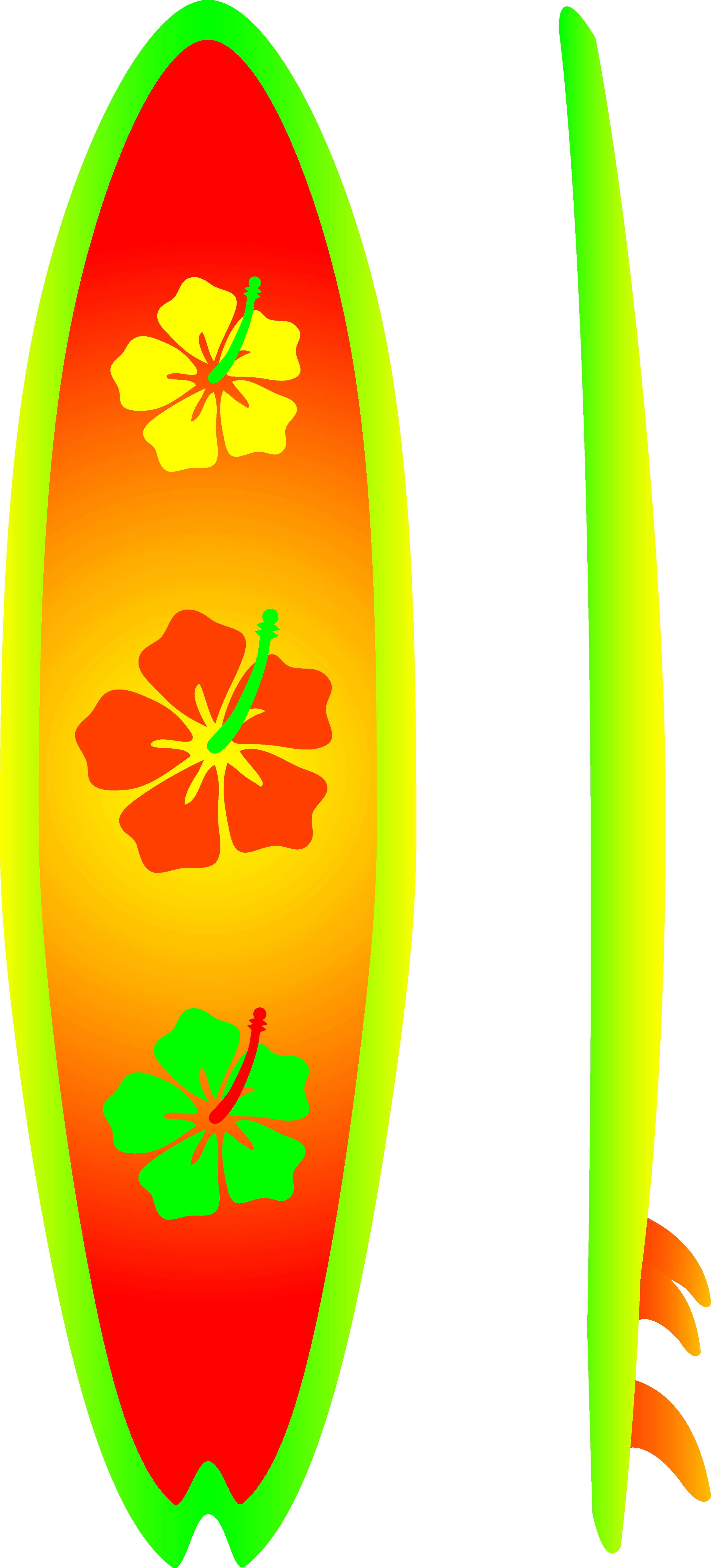 clip art stock Neon Surfboard With Hibiscus Design
