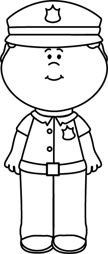 clipart library download Boy police officer job. Cop clipart black and white