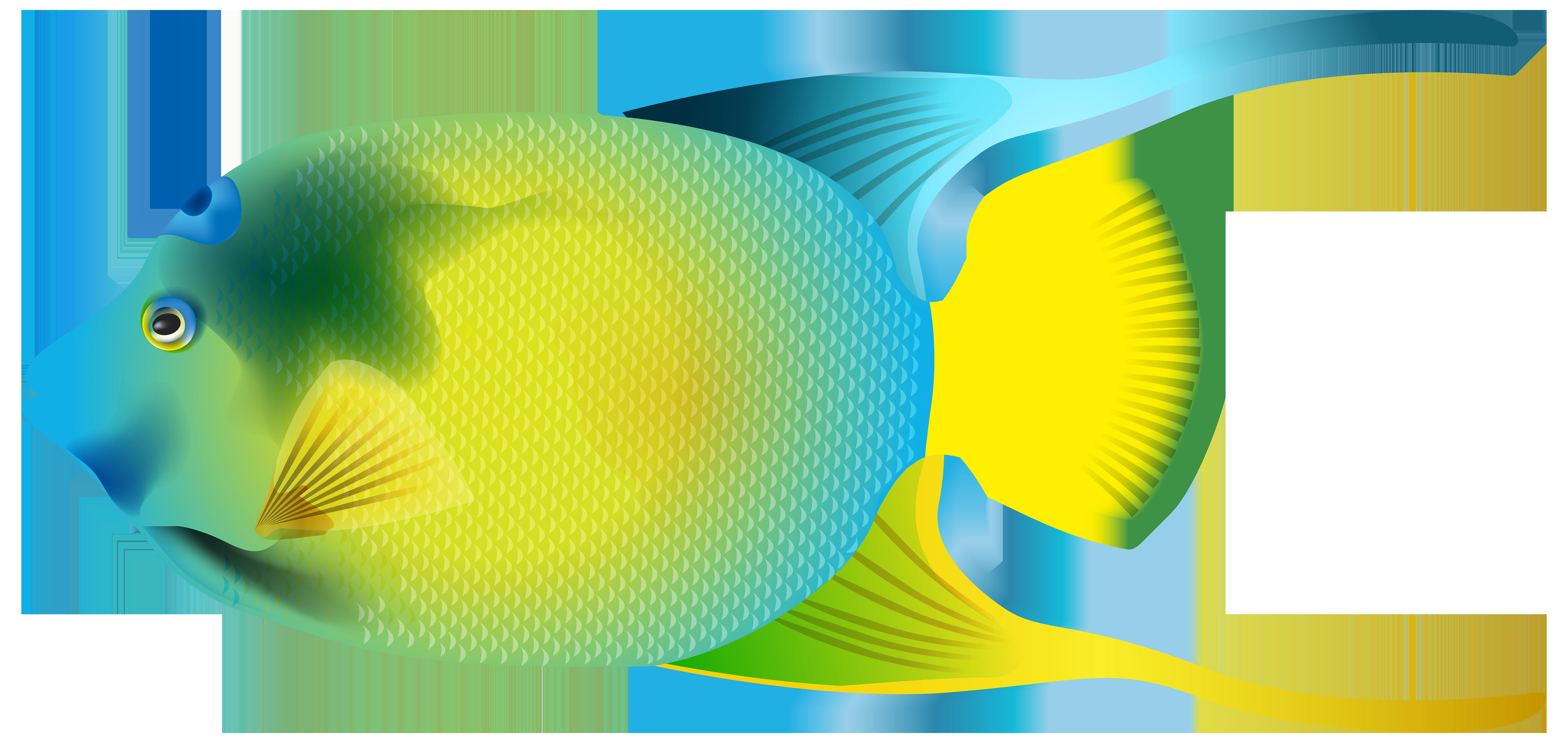 black and white stock Contemporary blue color fish. Underwater border clipart