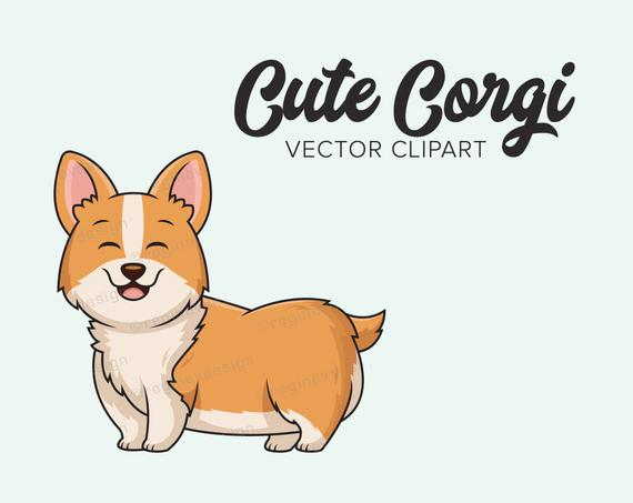 jpg freeuse stock Cute vector clip art. Corgi clipart.