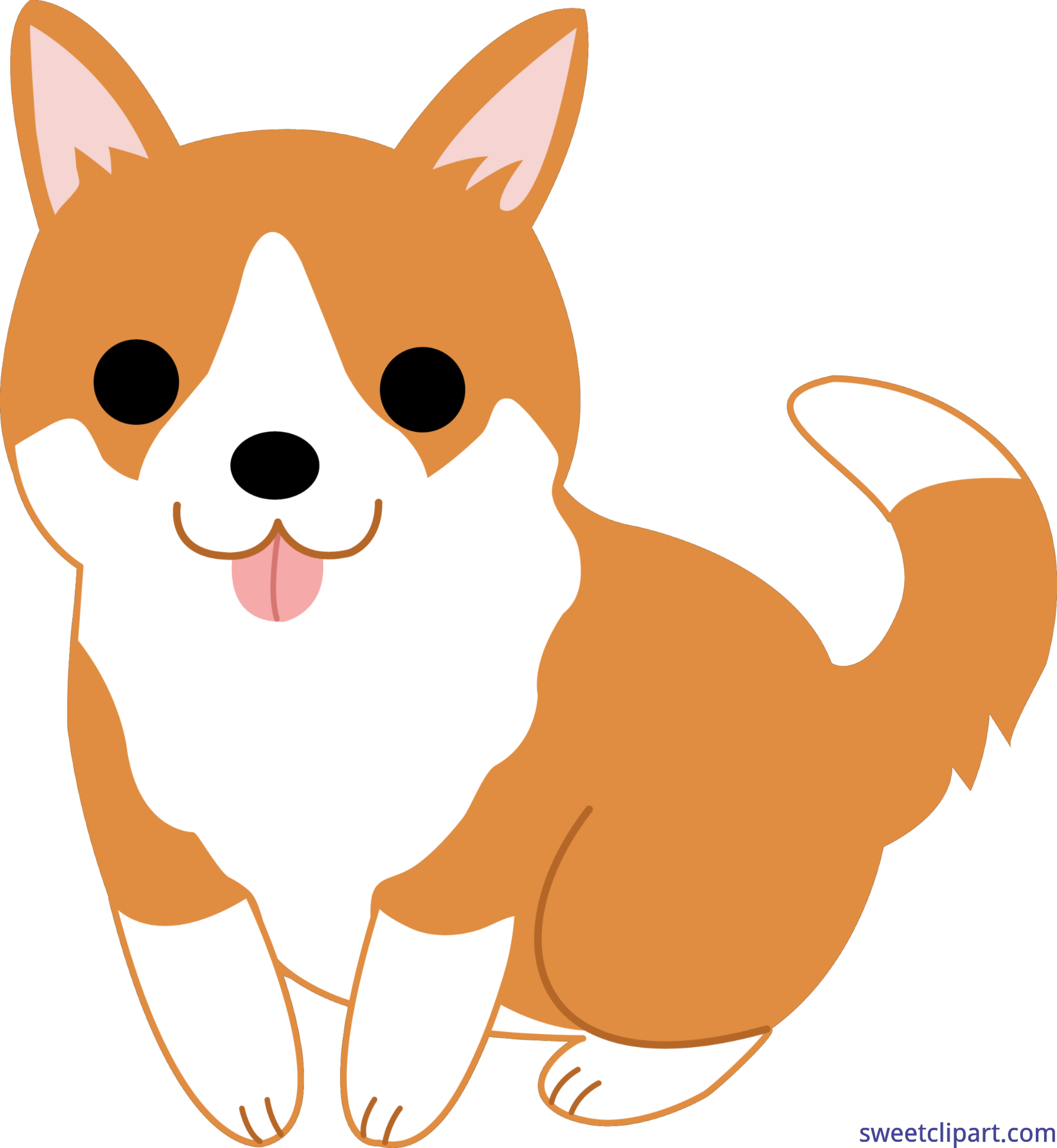 jpg black and white library Cute puppy clip art. Corgi clipart.