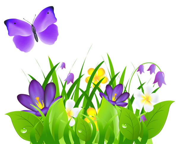 picture transparent library March clipart friendship flower. Purple flowers grass and.