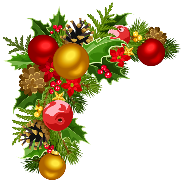 image library download Deco with tree decorations. Christmas clipart corner borders