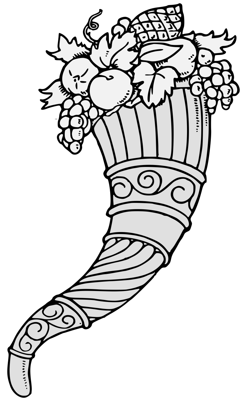 banner black and white library Cornucopia black and white clipart. Traceable heraldic art