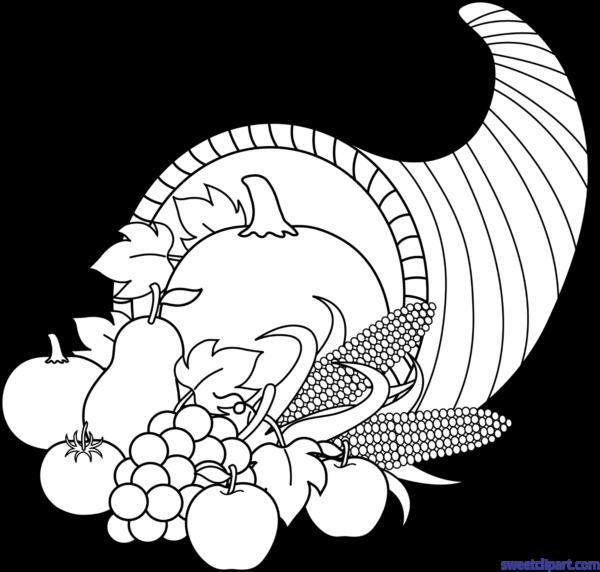 graphic freeuse stock Sweet clip art page. Cornucopia black and white clipart