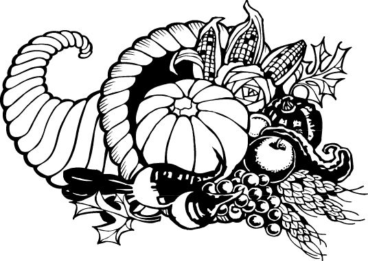black and white download Cornucopia clipart black and white. Clip art thanksgiving day