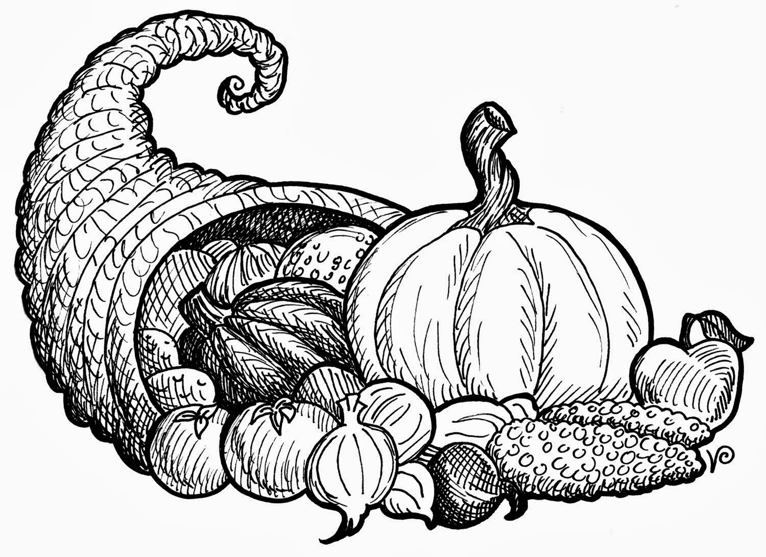 image royalty free Cornucopia clipart black and white. Free thanksgiving pictures download