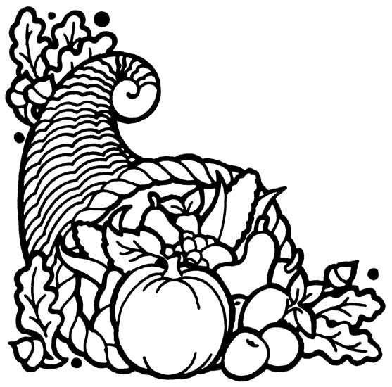 clip art free library Cornucopia clipart black and white. Pencil in color