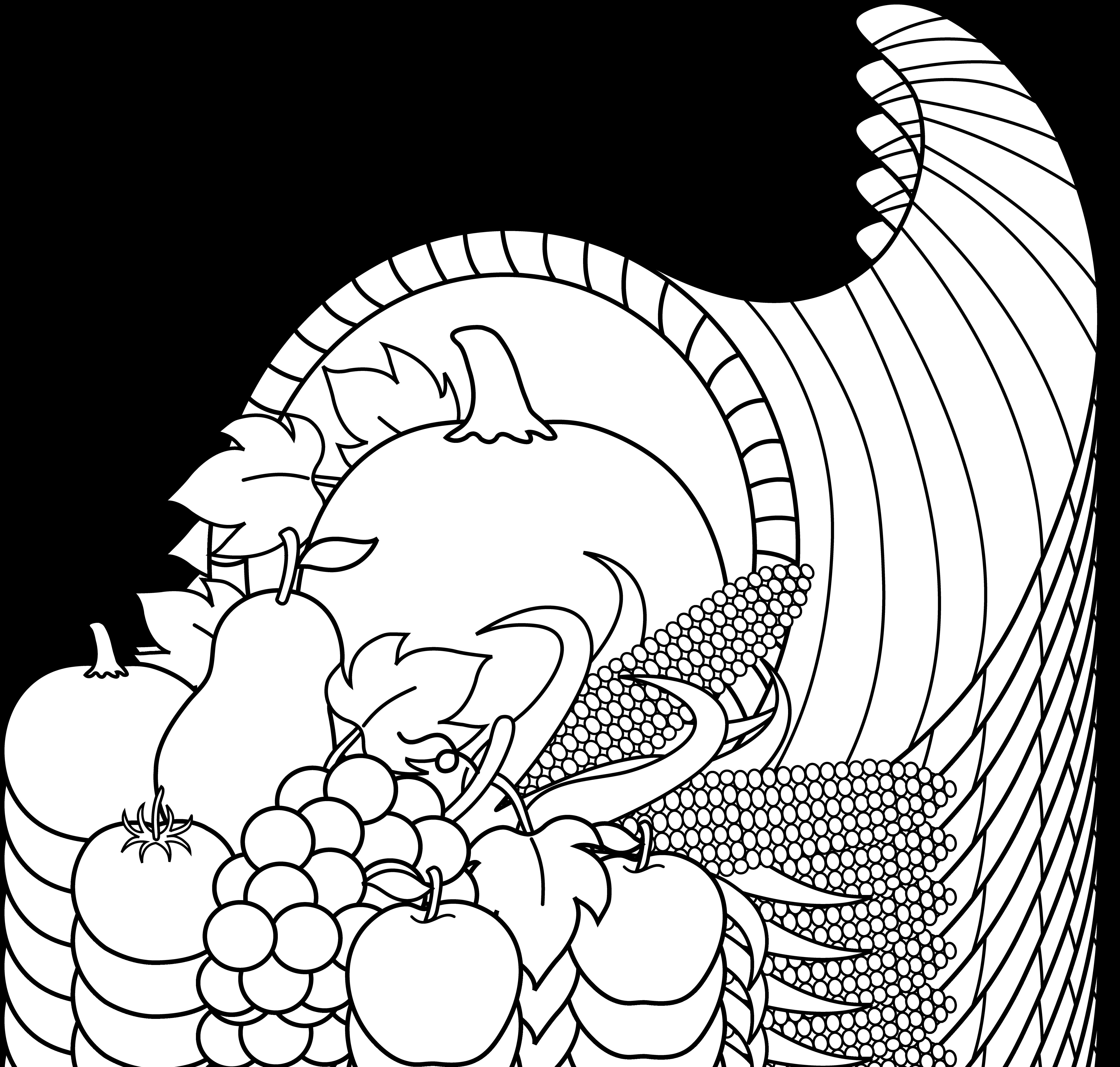 graphic freeuse stock Cornucopia black and white clipart. Harvest line art free