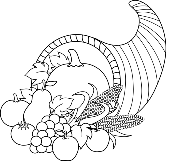 png black and white download Cornucopia clipart black and white. Harvest line art free
