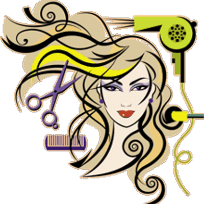 banner black and white H a r har. Cosmetology clipart hair studio