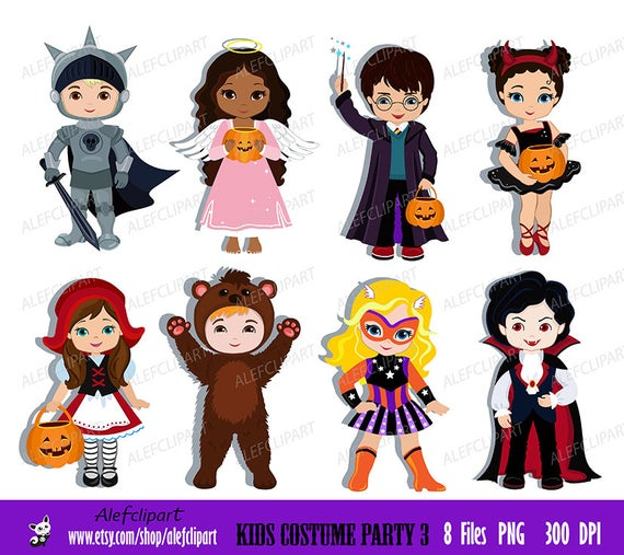 clipart royalty free Kids party digital cute. Costume clipart