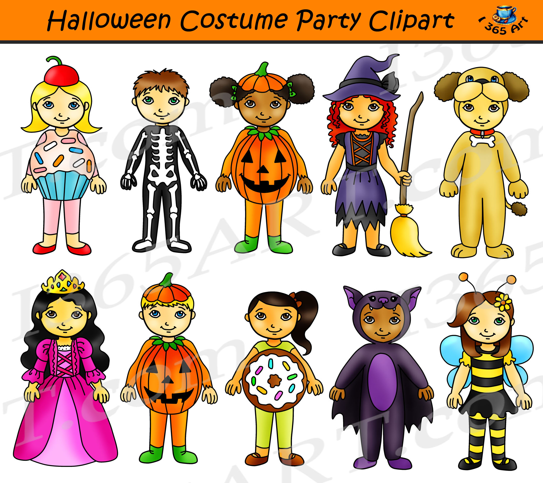png freeuse stock Halloween party kids . Costume clipart.