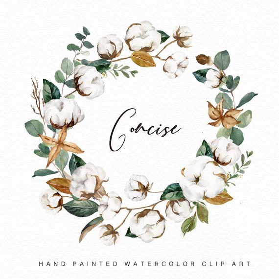 clip art library download Watercolor concise small set. Cotton wreath clipart
