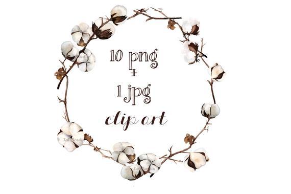 clip art download Cotton wreath clipart. Watercolor clip art png