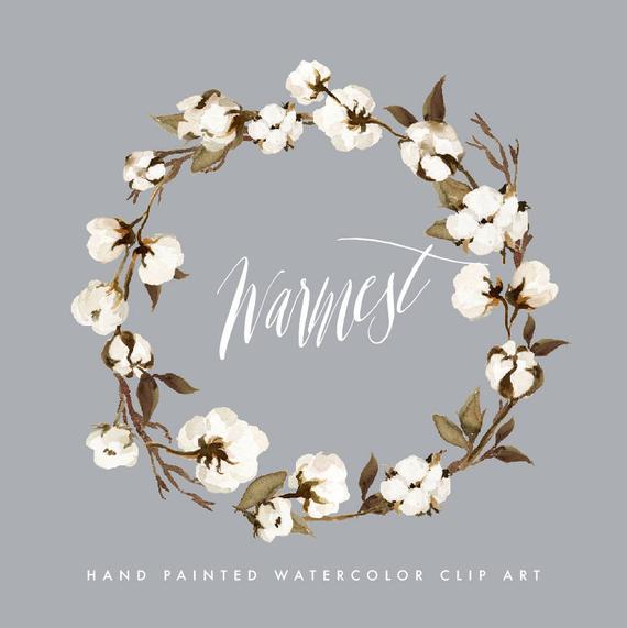 transparent download Cotton wreath clipart. Watercolor warmest small set