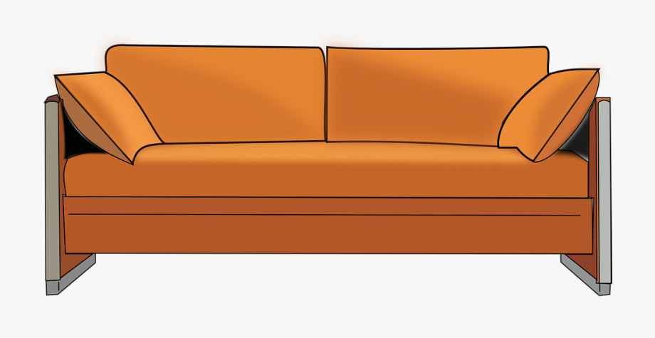 png black and white library Couch clipart. No living room png