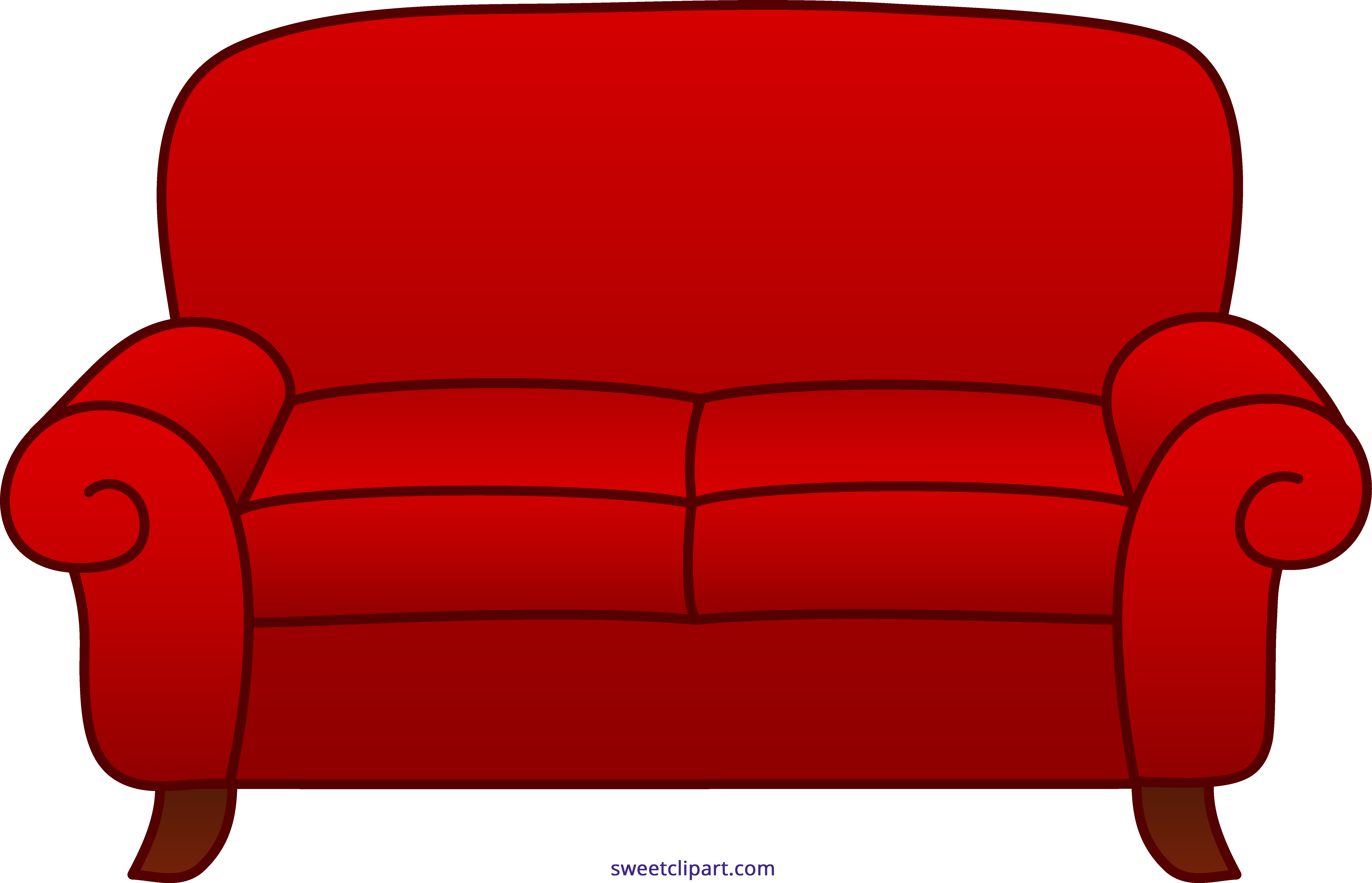 vector black and white stock Sofa red sweet clip. Couch clipart