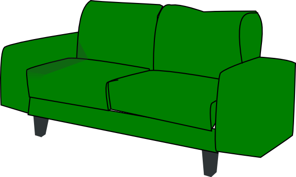 graphic free stock Green sofa clip art. Couch clipart.