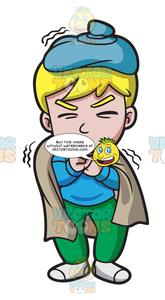 vector royalty free stock Cough clipart sick boy. A with horrible