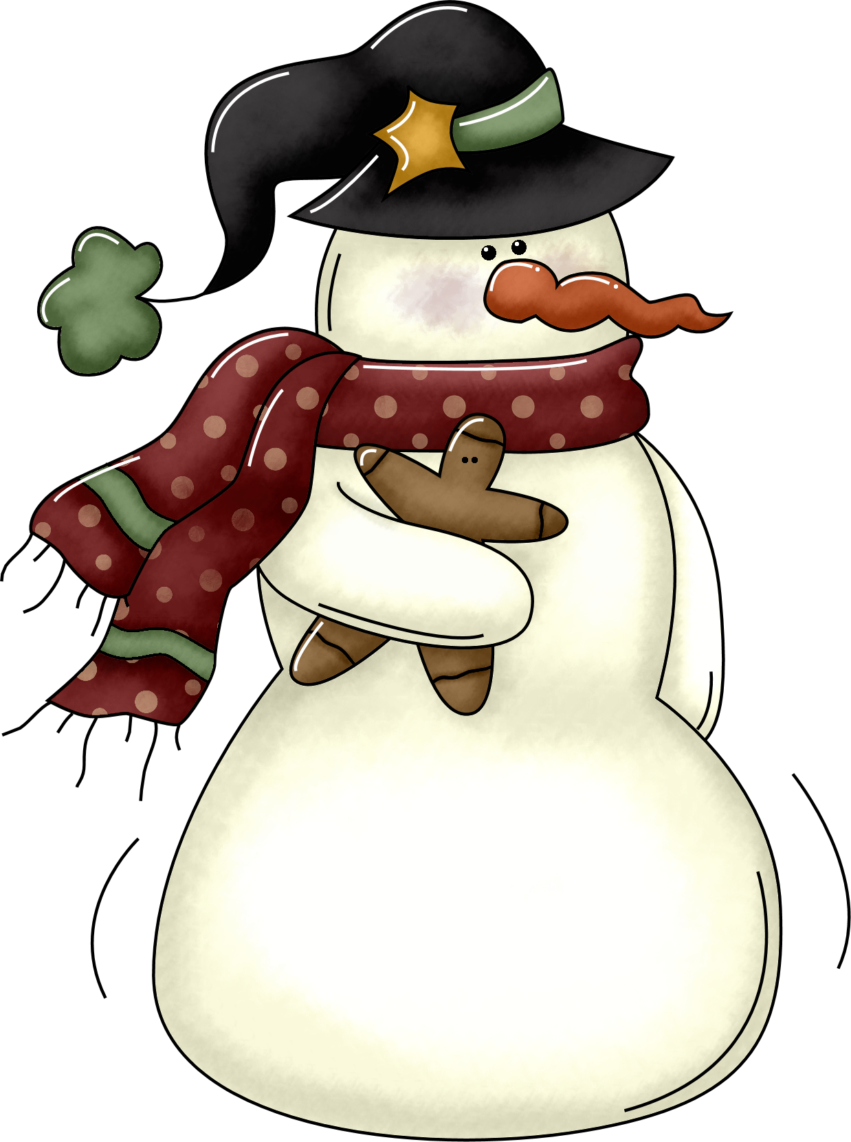 banner black and white stock Small Country Snowman Clipart