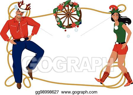 banner freeuse stock Eps illustration frame vector. Country western christmas clipart