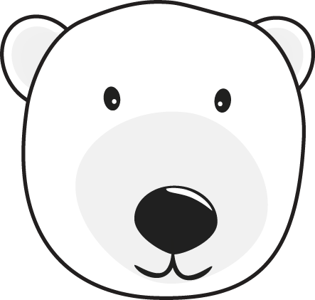 clipart black and white Polar Bear Head