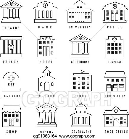 clipart Eps illustration buildings lined. Courthouse clipart government