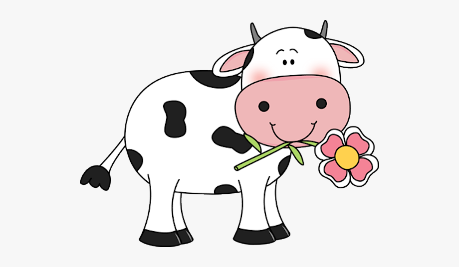clipart library With a flower in. Cow clipart
