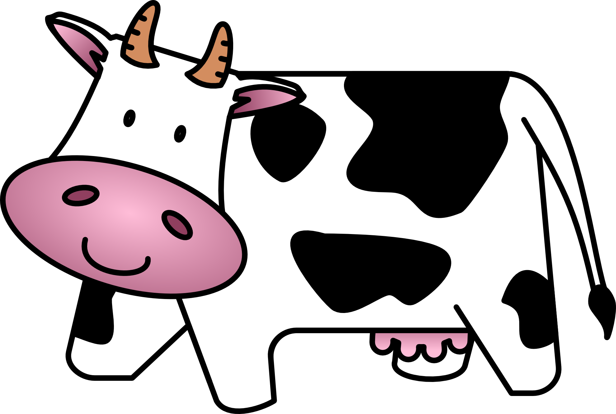 black and white download  collection of cartoon. Cow clipart