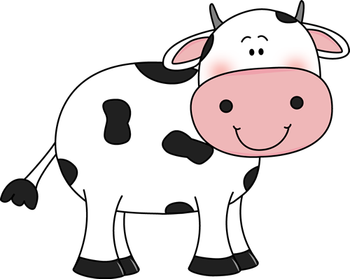 image stock Cute with black spots. Cow clipart