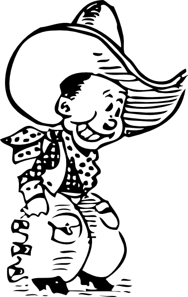 freeuse stock Cartoon cowboy clip art. Western black and white clipart